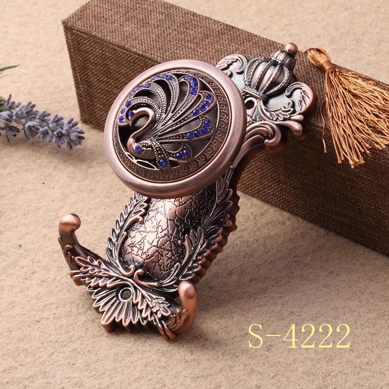欧式合金窗帘挂钩金属墙钩壁钩中式绑带固定钩衣帽装饰门帘钩