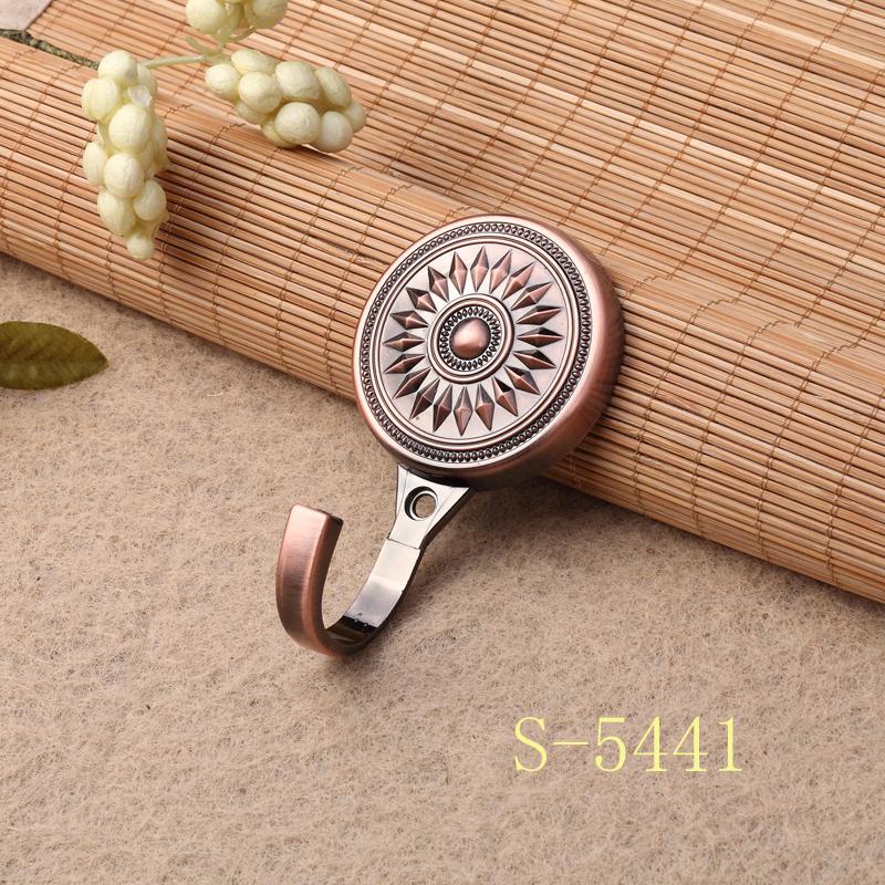 新款电镀高档欧式窗帘壁钩 锌合金窗帘挂钩墙钩弯钩衣帽钩 S-5441